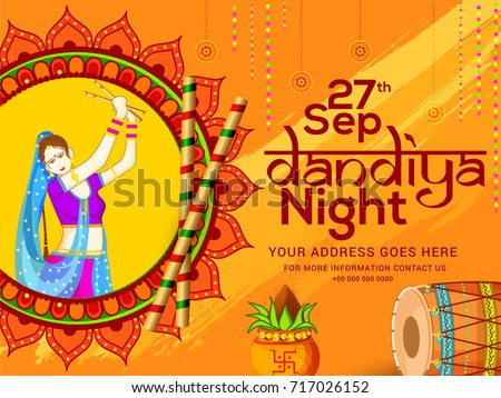 Creative Poster Flyer Dandiya Invitation Card Stock Vector 717026152