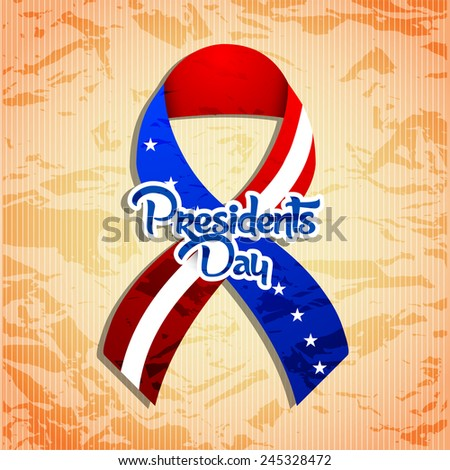 creative President Day ribbon with golden background - stock vector