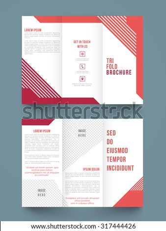 Creative professional trifold brochure, template or flyer design for your business or corporate sector. - stock vector