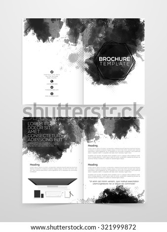 Creative professional Two page Business Brochure, Flyer, Banner or Template with digital device. - stock vector