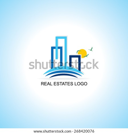 creative real estates sample logo vector illustration  - stock vector