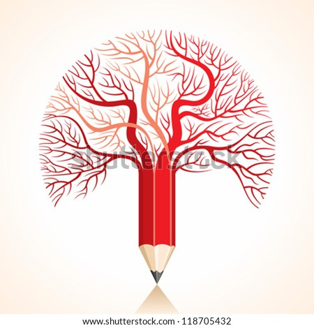 creative red pencil tree branch stock vector - stock vector