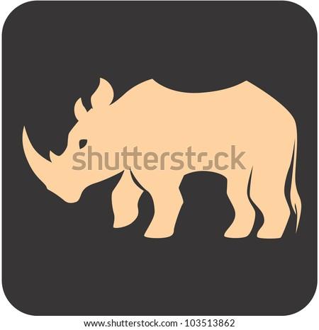 Creative Rhino Icon - stock vector
