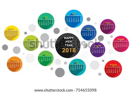 Creative Round Shape New Year 2018 Stock Photo Photo Vector