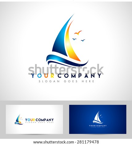 creative sailing boat logo creative vector stock vector 281179478
