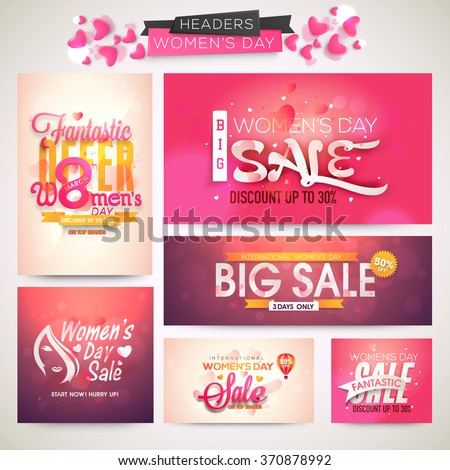Creative Sale header or banner set with discount offer for Happy Women's Day celebration. - stock vector