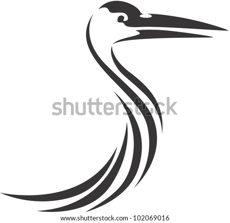 Creative Sandhill Crane Illustration - stock vector