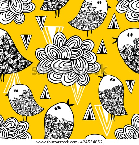 Creative seamless pattern with doodle bird and design elements. Vector illustration.