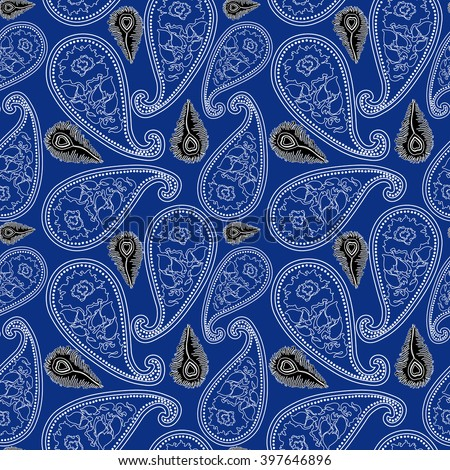 Creative seamless vector paisley pattern with linear hand drawn roses and peacock feathers. Bohemian textile collection. White, black on dark blue. - stock vector