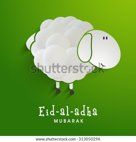 Creative sheep on shiny green background for Islamic Festival of Sacrifice, Eid-Al-Adha celebration. - stock vector