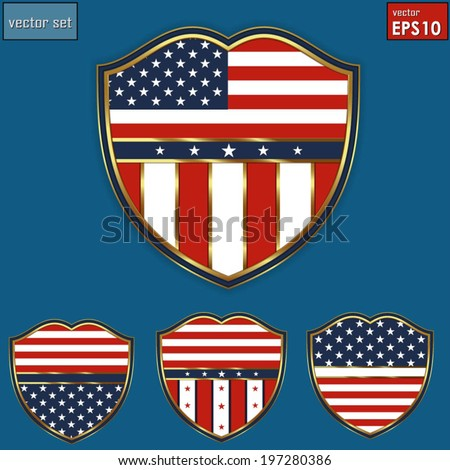 Creative shield USA Independence Day July 4th. Vector/ EPS 10