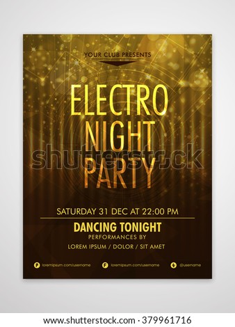 Creative shiny Flyer, Banner or Template design for Electro Night Party celebration. - stock vector