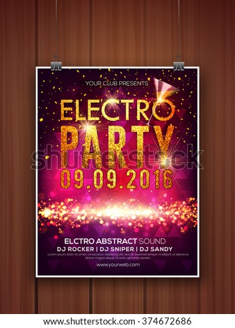 Creative shiny Flyer, Banner or Template design with golden text Electro Party. - stock vector