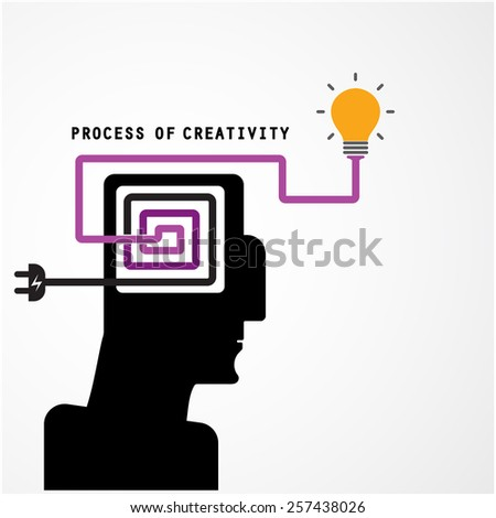 Creative silhouette head symbol and process of creativity concept on background, design for poster flyer cover brochure.Business and education idea. Vector illustration - stock vector