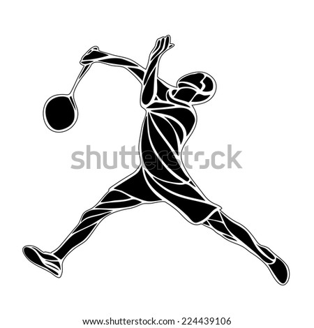 Creative silhouette of professional Badminton player doing smash shot. Vector illustration.