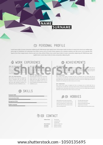 creative simple cv template triangle shapes stock vector 1050135695