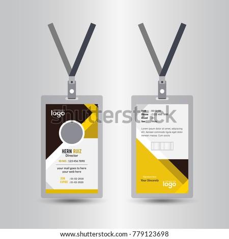 Creative Simple Yellow Black Id Card Stock Vector 779123698 ...