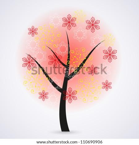 Creative snowflakes tree on gray background. Eps 10 illustration - stock vector