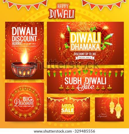 Creative social media post and header set for Indian Festival of Lights, Happy Diwali celebration. - stock vector