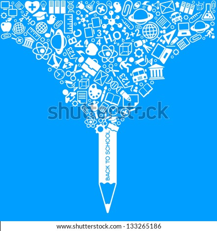 creative splash pencil with school icons set illustration. concept learning. the study of science - stock vector