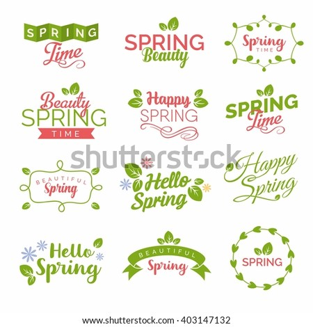 Creative spring typography set on white background with leaves framework and flowers
