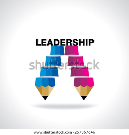 creative stair pencil top of the leadership idea concept  - stock vector
