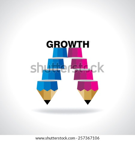 creative stairs pencil top of the growth idea concept  - stock vector