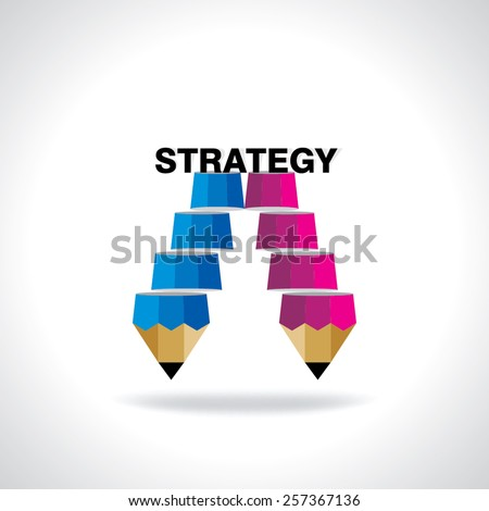 creative stairs pencil top of the strategy idea concept  - stock vector