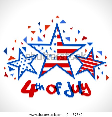 Creative Stars in American Flag colors for 4th of July, Independence Day celebration. - stock vector