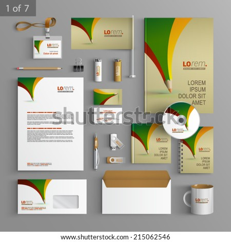 Creative stationery template design with color pencil. Documentation for business. - stock vector