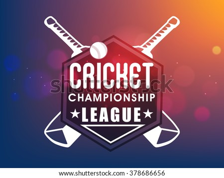 Creative sticker, tag or label design with bats and ball on shiny colorful background for Cricket Championship League concept. - stock vector