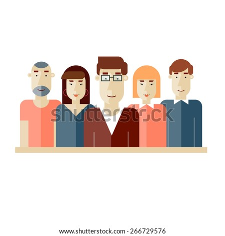 Creative team. Group of people. Teamwork. Brainstorming. Poster with place for text. Vector illustration. Flat design. - stock vector