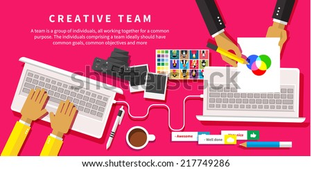 Creative team. Young design team working at desk in creative office flat design style - stock vector