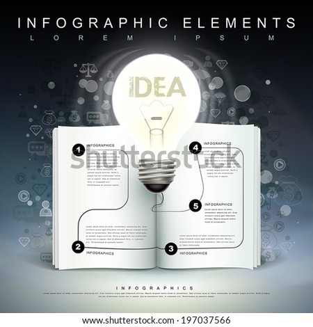 creative template with a bulb and a book flow chart, can be used for infographics and banners or posters, concept vector illustration - stock vector