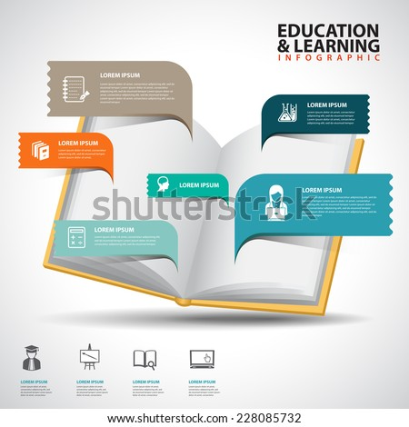 Creative Template with book speech bubble banner / can be used for infographics / banners / education concept vector illustration  - stock vector
