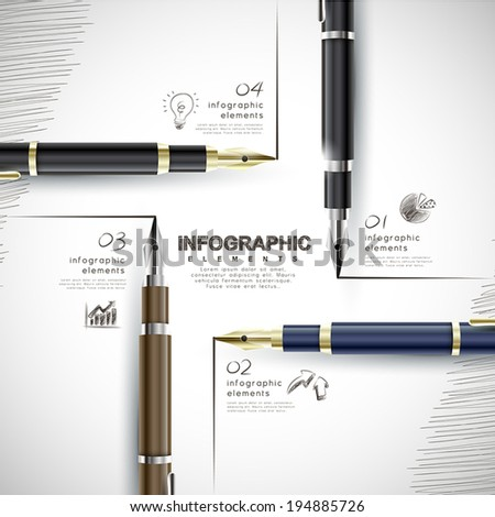 creative template with fountain pen writing informations, can be used for infographics and banners, business concept vector illustration - stock vector
