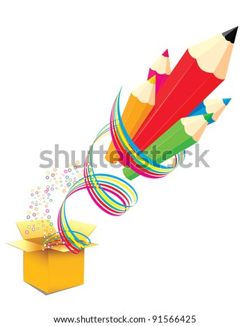 creative template with pencil and colour ribbon art concept