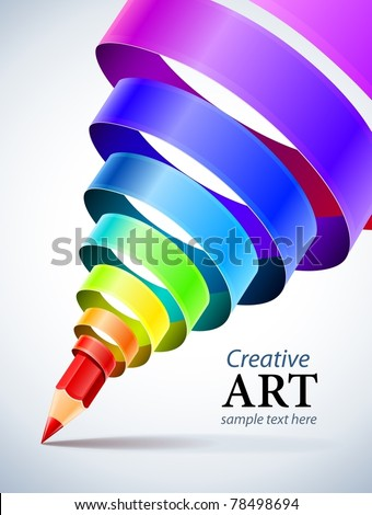 creative template with pencil and coloured spiral ribbon art concept vector illustration - stock vector