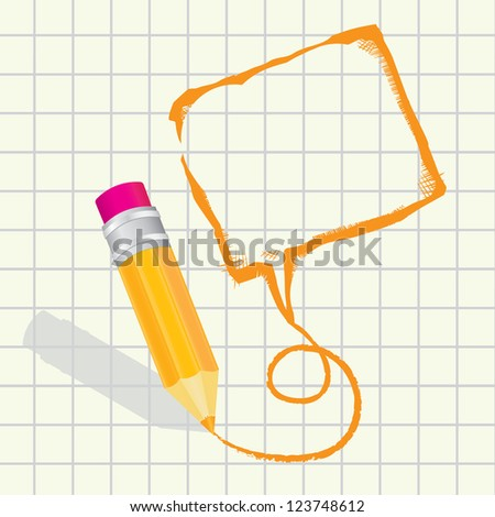 creative template with pencil and hand drawn speech bubble on paper art concept vector illustration - stock vector