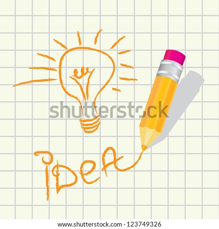 creative template with pencil and light bulb art concept vector illustration. creative idea concept - stock vector