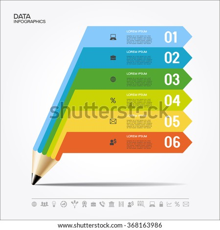 Creative Template with pencil for infographics. File is saved in AI10 EPS version. This illustration contains a transparency