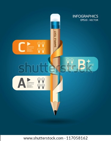 Creative Template with pencil ribbon banner  / can be used for infographics / banners / concept vector illustration