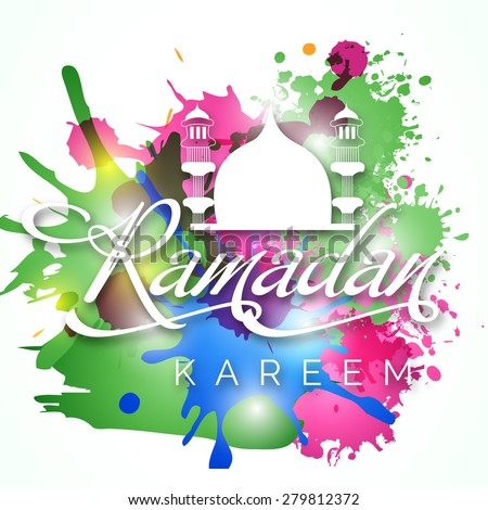 Creative text for Muslim community festival Ramadan Kareem with colorful grunge. - stock vector