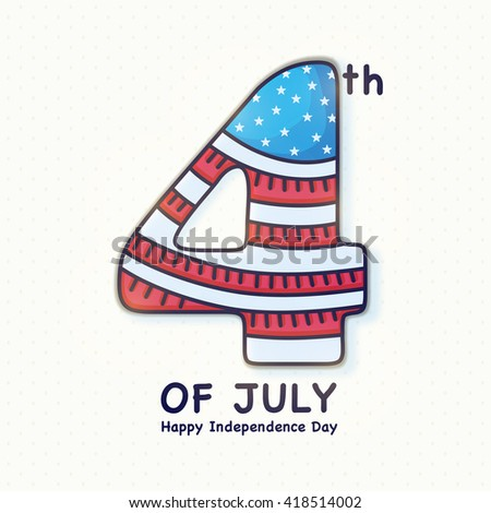 Creative text 4th of July in American Flag colors, Elegant greeting card design for Happy American Independence Day celebration. - stock vector