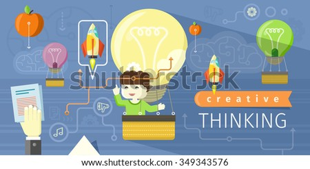 Creative thinking design flat concept. Creative concept, creative ideas, creative design, creative background, idea business, technology and information, think communication organization illustration - stock vector