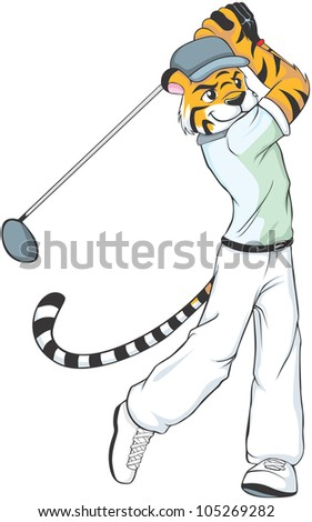 Creative Tiger Golf Illustration as a professional golfer - stock vector