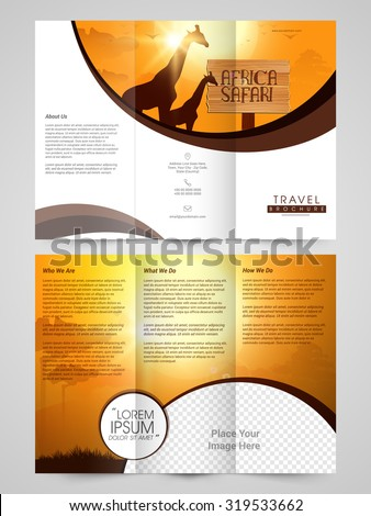 Creative Travel Trifold Brochure, Template or Flyer design with glossy nature view and space for image. - stock vector