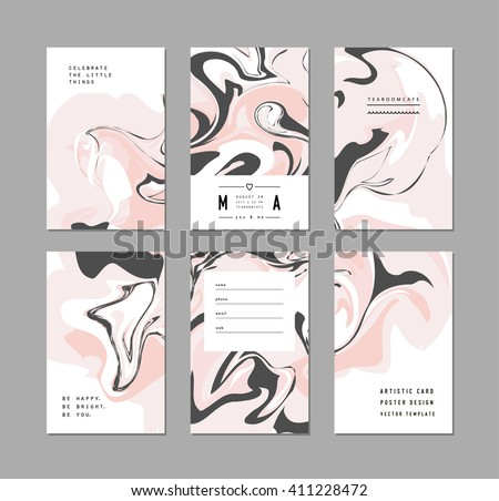 Creative trendy cards. Abstract painting templates with place for your text. Marble texture. Vector - stock vector