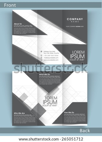 Creative Tri Fold business flyer, template or brochure in black and white color combination with place holders. - stock vector