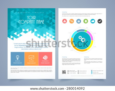 Creative two page business flyer, template or brochure design with different infographics. - stock vector